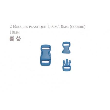 2 x 10mm Boucles Attache Rapide / Fermoirs Clips / Plastique / bleu clair