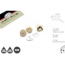 2 x 14mm Fermoirs Magnétiques / Qualité Supérieure / Dore Clair