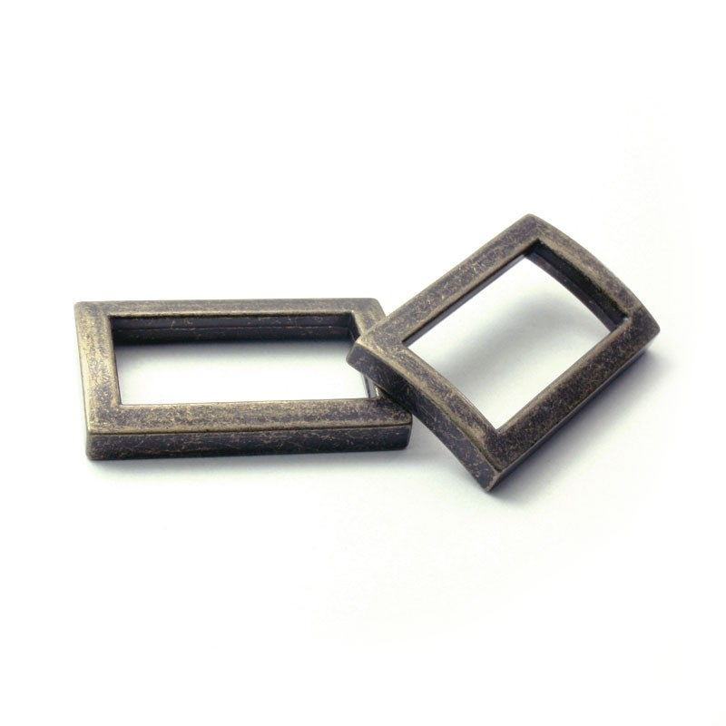 2 x 25mm Anneaux Rectangulaires / Passants Simples / Métal / Bronze Antique