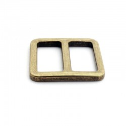 2 x 20mm Boucles Coulisse / Passants Doubles / Métal / Bronze Antique / Sans Nickel