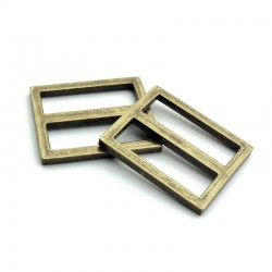 2 x 25mm Boucles Coulisse / Passants Doubles / Bronze Antique / Sans Nickel