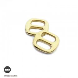 2 x 13mm Boucles Coulisse / Passants Doubles / Laiton Massif