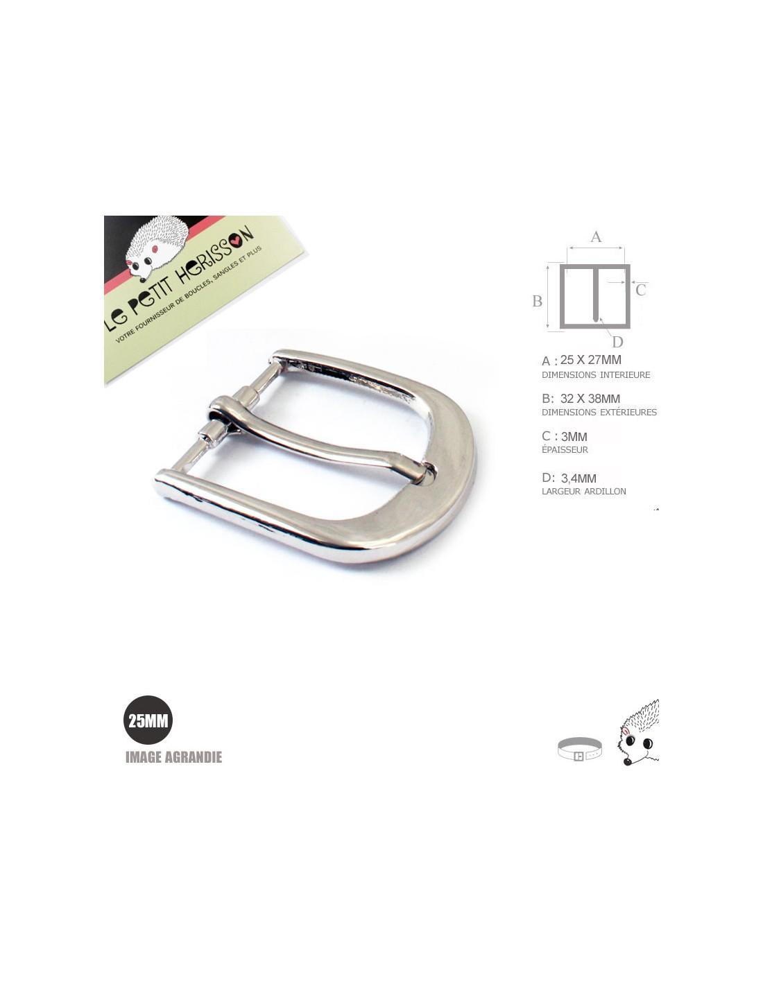 1 x 25mm Boucle de ceinture   Métal   Nickel be257747f00