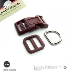 Kit Collier Pour Chien: 19mm / haute qualité / Bordeaux