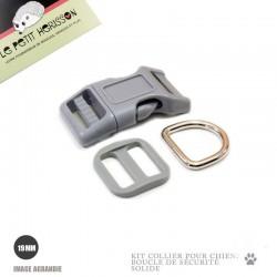 Kit Collier Pour Chien: 19mm / haute qualité / gris