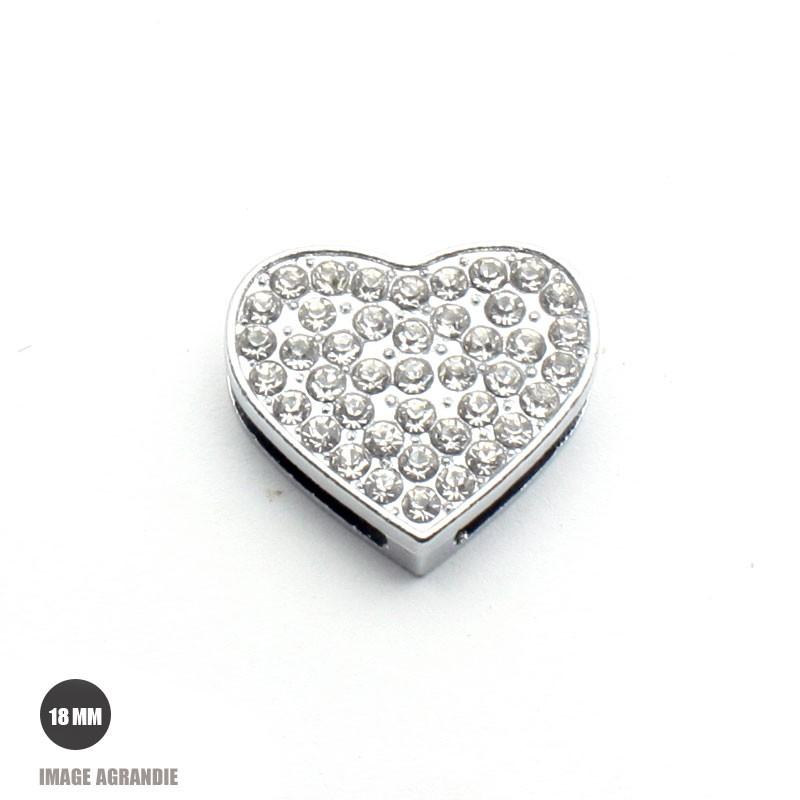1 x 18mm Breloques Coulissantes / cœur / strass avec passant (18mm)
