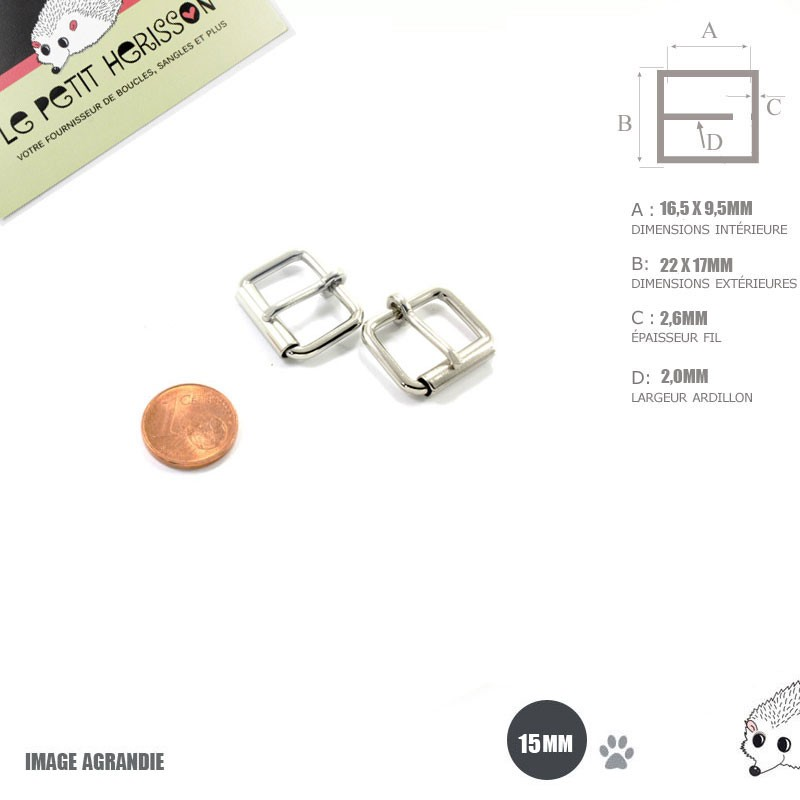 2 x 15mm Boucles à rouleau / Métal / Nickel