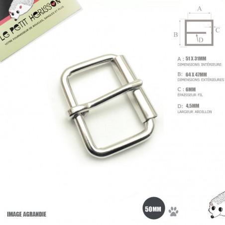 2 x 50mm Boucles à rouleau / Métal / Nickel