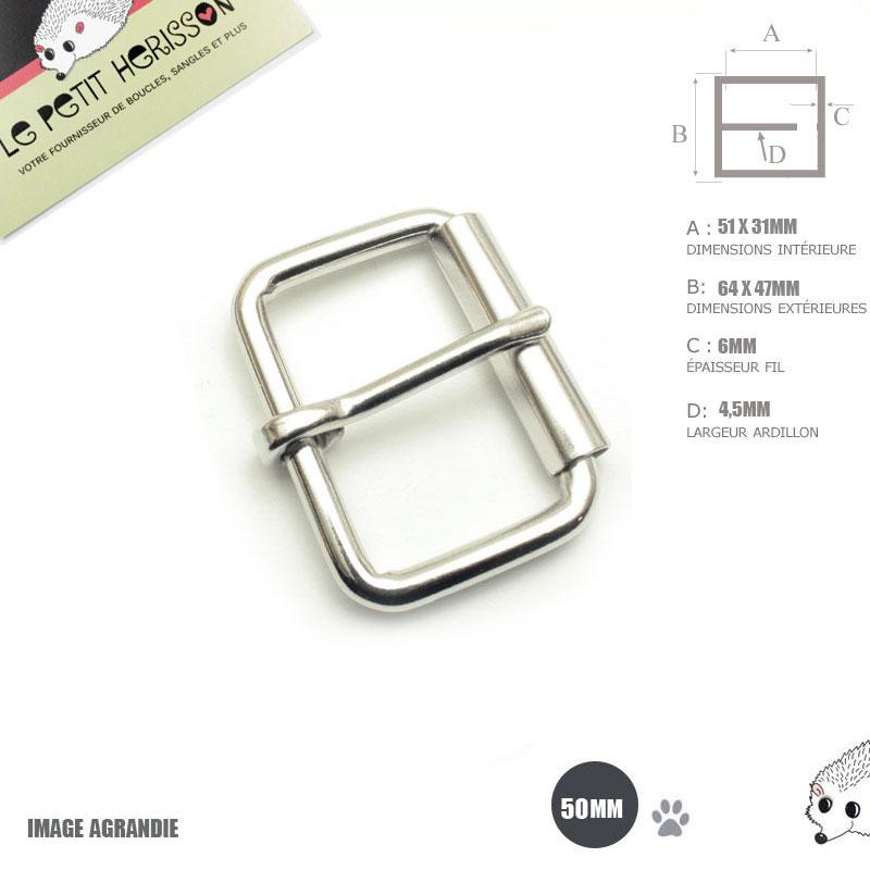 2 x 50mm Boucles à rouleau   Métal   Nickel 9a7c99664a0