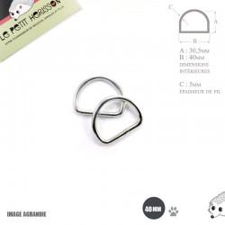 2 x 40mm Anneaux demi lunes / Metal / Acier / Soudé / Nickel / Epais