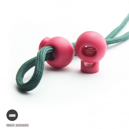 2 Arrêts de cordon / Boule / Plastique / Rose Fonce (Fuchsia)