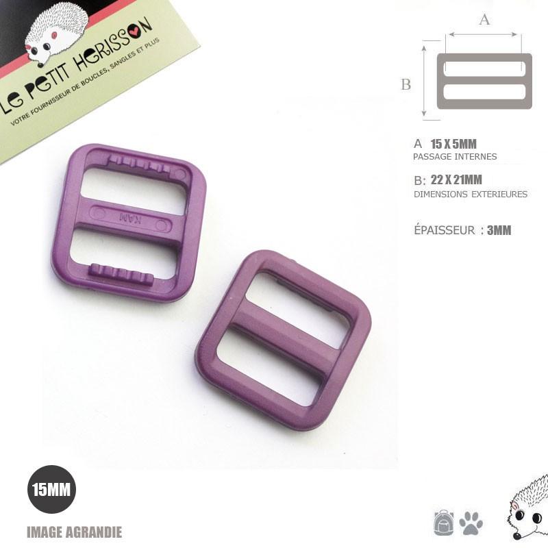 2 x 15mm Boucle Coulisse / Passants Doubles / Prune / Plastique
