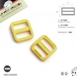 2 x 15mm Boucle Coulisse / Passants Doubles / Jaune / Plastique