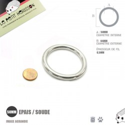 1 x 50mm Anneau rond / Métal / Soudé / Nickel / Epais