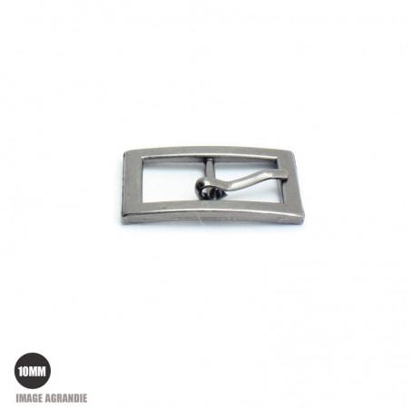 2 x 10mm Boucles de ceintures / Métal / Gunmetal / Rectangulaire