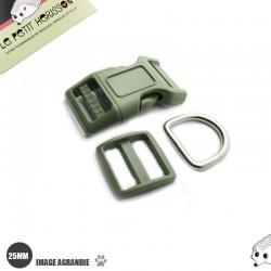 Kit Collier Pour Chien: 25mm / haute qualité / vert olive