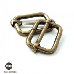 2 x 25mm Boucles Coulissantes / Boucles Réglables / Metal / Bronze Antique