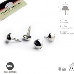 4 x 12mm Pieds pour Sac a Main / Métal / Rond / Nickel