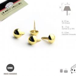 4 x 12mm Pieds pour Sac a Main / Métal / Rond / Dore Jaune