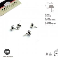 4 x 10mm Pieds pour Sac / Métal / Rond / Argente