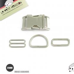 Kit Collier Pour Chien: 25mm / Metal / haute qualité / Chrome