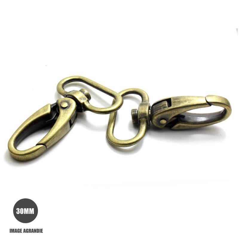 2 x 30mm Mousquetons Pivotants / Métal / Bronze Antique / Style 3A