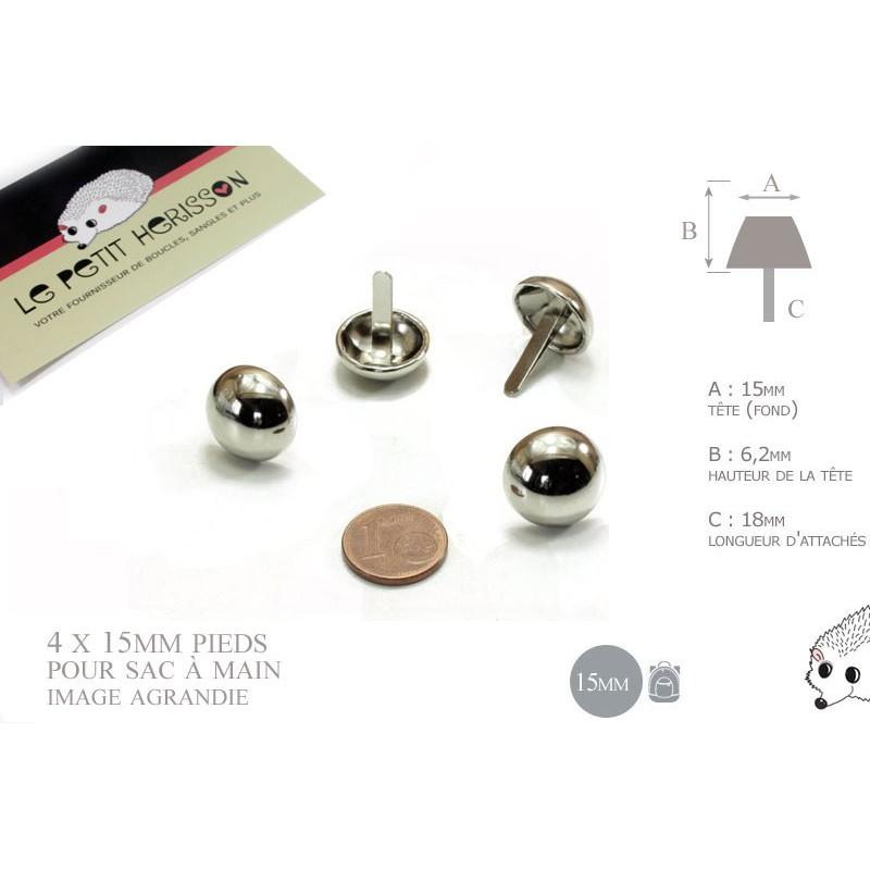 4 x 15mm Pieds pour Sac a Main / Métal / Rond / Nickel