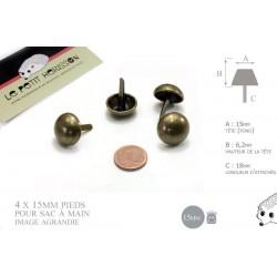 4 x 15mm pieds pour sac / métal / rond / bronze antique