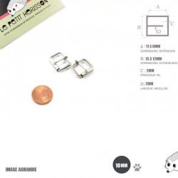 2 x 10mm Boucles à rouleau / Métal / Nickel