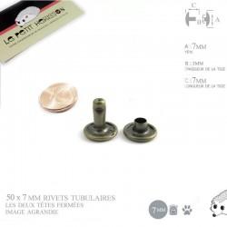 50 x 7mm Rivets Tubulaires / Acier / Plat / Bronze