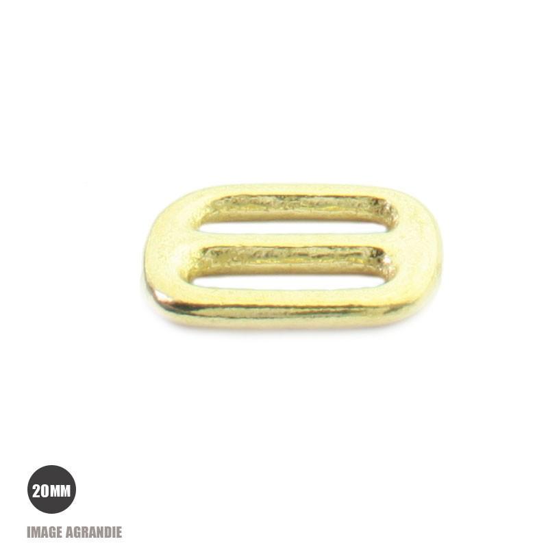 2 x 20mm Boucles Coulisse / Passants Doubles / Laiton Massif