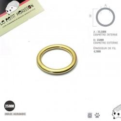 1 x 25mm Anneaux ronds / Moulé / Laiton Massif