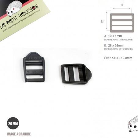 2 x 19/20mm Boucles de Règlage / Noir / Plastique