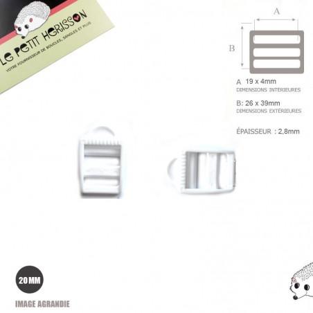 2 x 19/20mm Boucles de Règlage / Blanc / Plastique