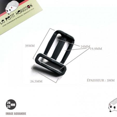 2 x 20 - 25mm Passants De Réglage /Triple / Plastique /  Plat / Noir