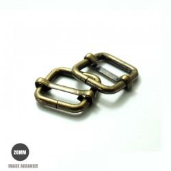 2 x 20mm Boucles Coulissantes / Boucles Réglables /  Metal / Carre / Bronze Antique