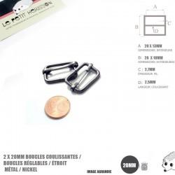 2 x 20mm Boucles Coulissantes / Boucles Réglables / Métal / Gunmetal / Etroit