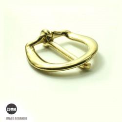 2 x 20mm Boucles de Bride / Laiton Massif / Demi Rond