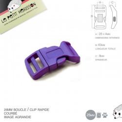 1 x 25mm Boucle Attache Rapide / Fermoir Clip / Plastique / Violet