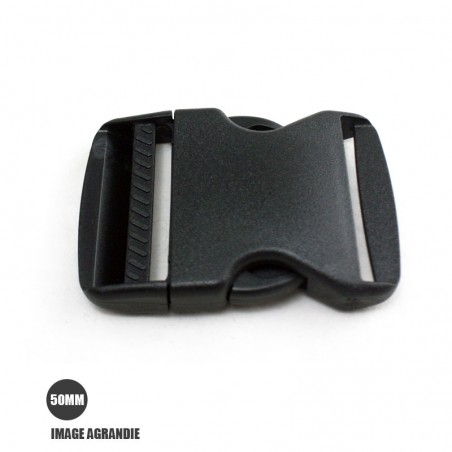 1 x 50mm Boucle Attache Rapide / Fermoir Clip / Plastique / Noir / Legerment Courbe / Style 1