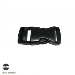 1 x 20mm Boucle Attache Rapide / Fermoir Clip / Plastique / Plat / Noir / Arrondie