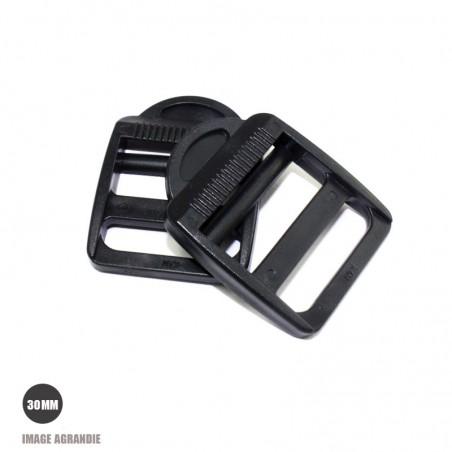 2 x 30mm Boucles de Règlage / Noir / Plastique