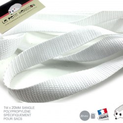 1m x 20mm Sangle / Polypropylène / Moyen / Blanc / Fabrique en France