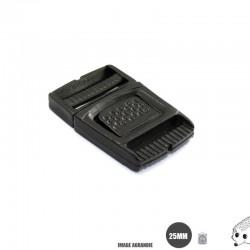 1 x 20mm Boucle Centre / Plat / Plastique /  Noir  / Carre