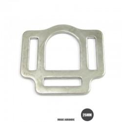 1 x 25mm Boucle carré de licol / Harnais / Métal / Plaque Chrome / Plat