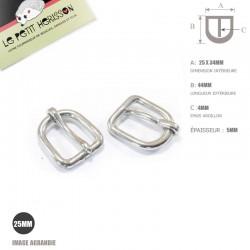 2 x 25mm Boucles de Bride / Métal / Chrome