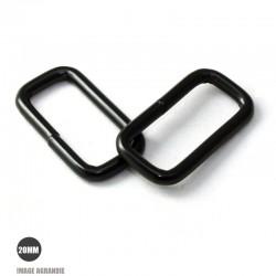 2 x 20mm Anneaux Rectangulaires / Passants Simples / Métal / Noir Matt