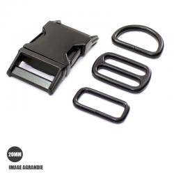 Kit Collier Pour Chien: 20mm / Metal / haute qualité / Noir Matt
