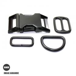 Kit Collier Pour Chien: 16mm / Metal / haute qualité / Noir Matt