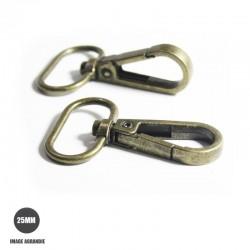 2 x 25mm Mousquetons Pivotants / Metal / Style 4 / Economique / Bronze Antique